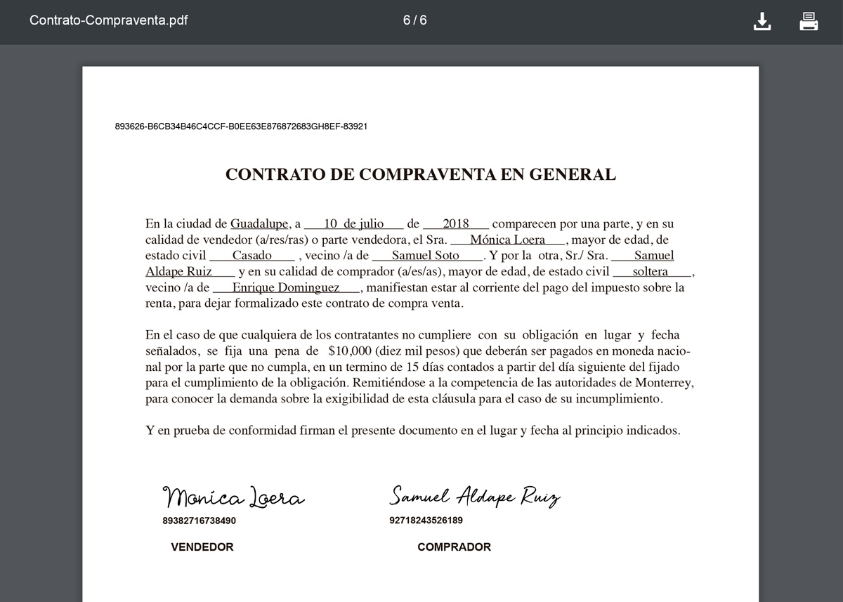 Documento firmado en plataforma de firma electrónica simple