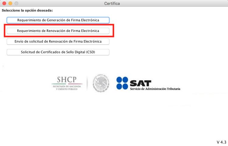 Pantalla principal de la aplicación CERTIFICA del SAT para computadora, opción de requerimiento de renovación