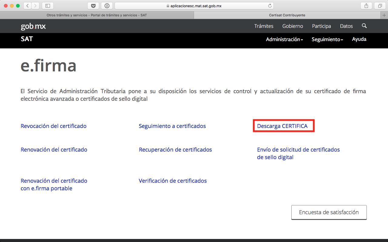 Pantalla de inicio de CertiSAT Web, opción para descargar CERTIFICA