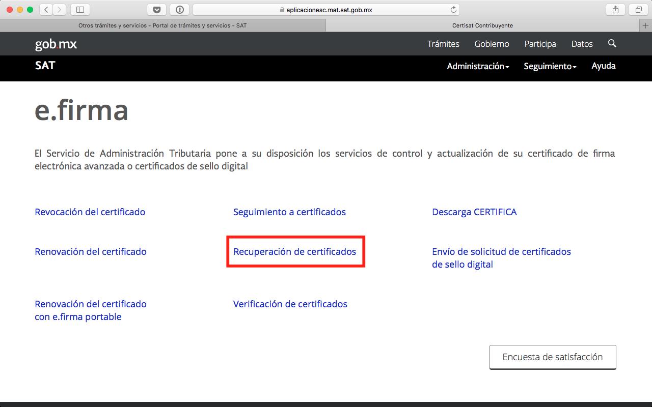 Opción de recuperación de certificados en CertiSAT Web