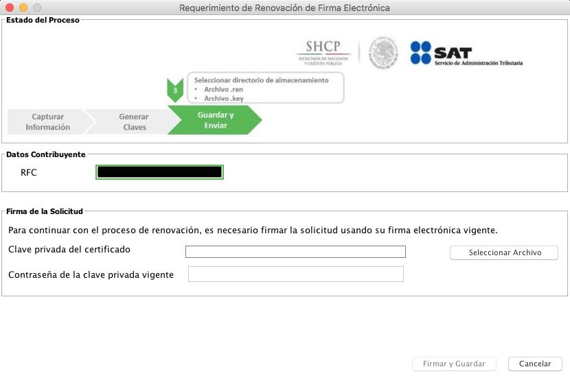 Firma de solicitud de renovación de FIEL en la app CERTIFICA, usando la clave privada actual y su contraseña