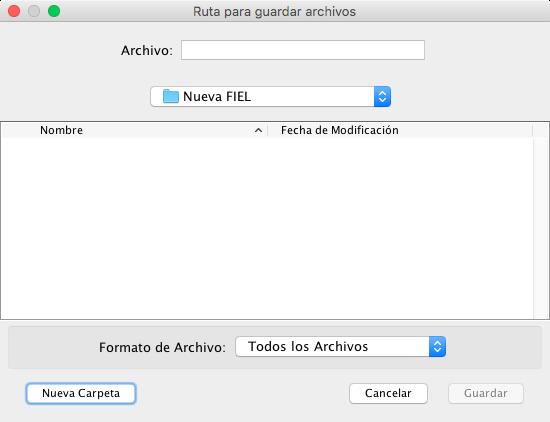 Selección de carpeta para guardar solicitud de renovación .ren y nueva .key de FIEL, app CERTIFICA SAT