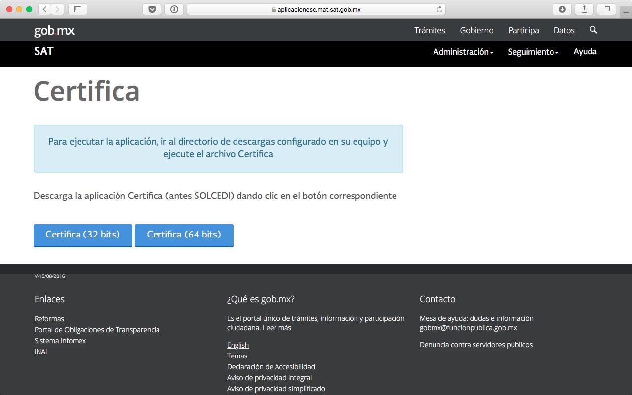 Página del SAT donde se puede descargar la aplicación CERTIFICA (antes SOLCEDI) en 32 bits o en 64 bits