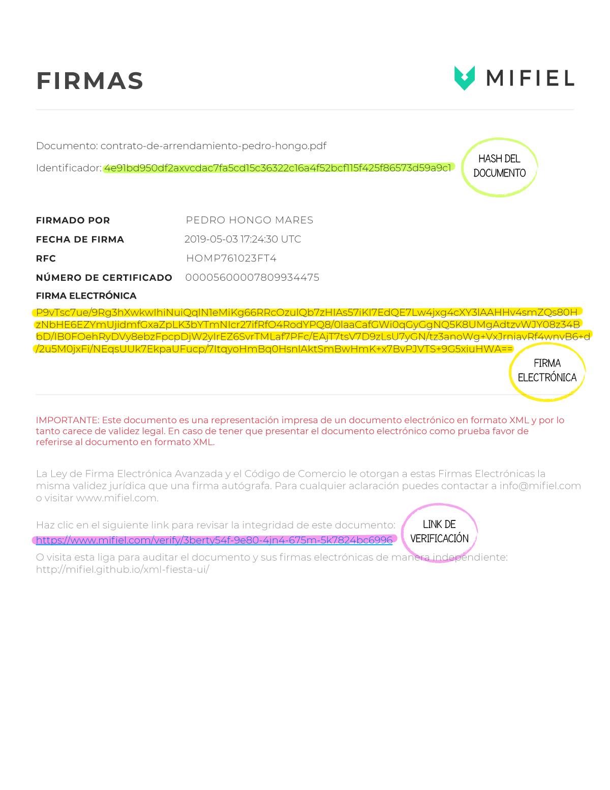 Hoja de firmas en Mifiel señalando elementos de la firma electrónica.
